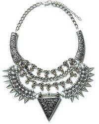 Zara Triangular Studded Necklace - Lyst