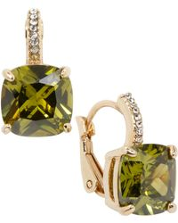 City By City | Gold-tone Square Olivine And Cubic Zirconia Earrings (12 Ct. T.w.) | Lyst