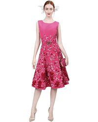 Oscar de la Renta Sleeveless Floral Embroidered Dress - Lyst