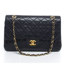 Chanel Pre-owned Navy Lambskin Small Vintage Double Flap - Lyst