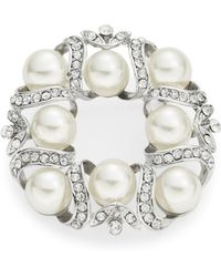 R.j. Graziano - Faux Pearl And Crystal Wreath Brooch - Lyst