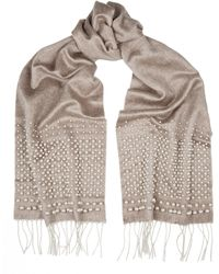 Valentino Pearl-Embellished Silk And Cashmere-Blend Scarf - Lyst