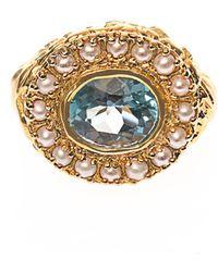Jade Jagger - Aquamarine, Pearl & Gold-Plated Ring - Lyst