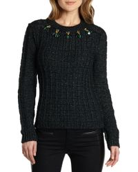 Tory Burch Lucy Embellished Metallic Flecked Sweater - Lyst