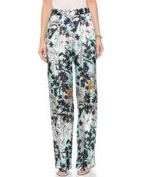MSGM Wide Leg Floral Pants - Light Blue Floral - Lyst