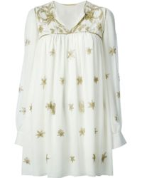 Saint Laurent Star Glitter Tunic Dress - Lyst