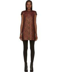 Saint Laurent Red and Gold Jacquard Leopard Spot Shift Dress - Lyst