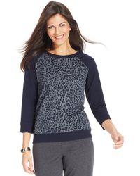 Jones New York Signature Petite Animalprint Sweatshirt - Lyst