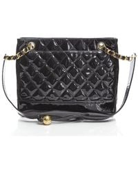 Chanel Pre-Owned Black Patent Leather Bottom Quilted Shoulder Bag - Lyst