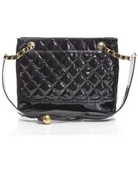 Chanel Preowned Black Patent Leather Bottom Quilted Shoulder Bag - Lyst
