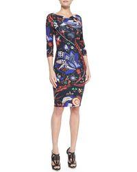 Roberto Cavalli Abstract Floral-print Boat-neck Sheath Dress - Lyst