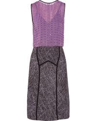 Bottega Veneta Swarovski Crystal-Embellished Silk-Chiffon And Sateen Dress - Lyst