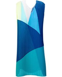 Issey Miyake Pleated Color Block Dress - Lyst