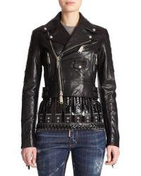 DSquared² Fringe Leather Moto Jacket black - Lyst
