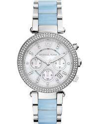 Michael Kors Parker Stainless Steel Glitz Watch - Lyst