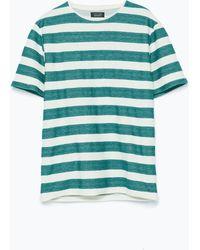 Zara Short Sleeve Striped T-Shirt - Lyst