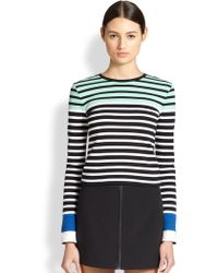 T By Alexander Wang Striped Stretch Cotton Tee - Lyst