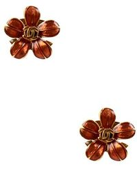 Chanel Pre-Owned Gold And Orange Enamel Flower Earring gold - Lyst
