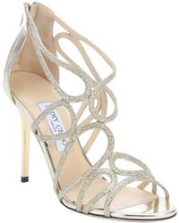 Jimmy Choo Gold Leather And Glitter 'Layla' Sandals - Lyst