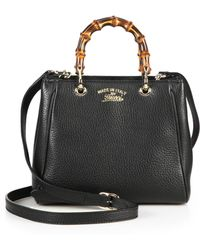 Gucci Bamboo Shopper Mini Leather Top Handle Bag - Lyst