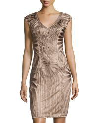 Sue Wong Embroidered V-Neck Cap-Sleeve Dress gold - Lyst