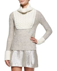 Tory Burch Gretchen Mixed Knit Turtle Neck Sweater - Lyst