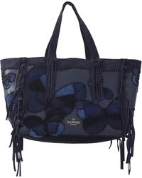 Valentino C-Rockee Butterfly Suede Fringe Tote blue - Lyst