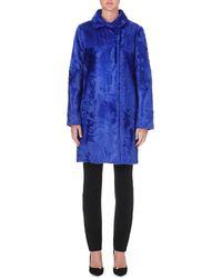 Etro Shearling Coat Blue - Lyst
