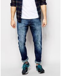 Esprit Washed Mid Blue Stretch Slim Fit Jeans - Lyst