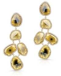 Anne Sisteron - 18kt Yellow Gold Canary Diamond Slice Earrings - Lyst
