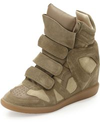 Isabel Marant Beckett Suede Wedge Sneaker Taupe - Lyst