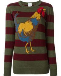Stella Jean Rooster Motif Striped Sweater - Lyst
