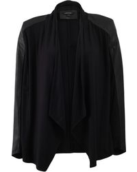 Lamarque - Leather And Knit Cardigan - Lyst