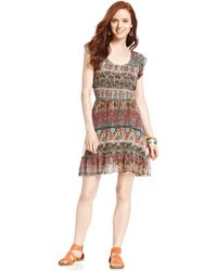 American Rag - Printed Smockedwaist Dress - Lyst
