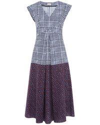 Suno V-Neck Combo Printed Circle Dress - Lyst