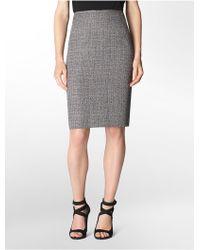 Calvin Klein White Label Tweed Pencil Suit Skirt - Lyst