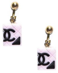 Chanel Preowned Black Cc Pink Cambon Ligne Earrings - Lyst