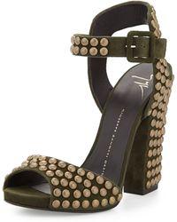 Giuseppe Zanotti Studded Ankle-wrap Chunky-heel Sandal - Lyst