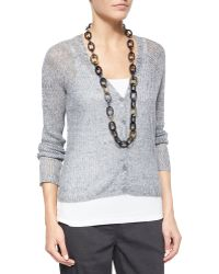Eileen Fisher Rustic Speckle Cardigan gray - Lyst