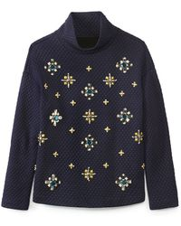 Tory Burch Blue Wendy Pullover - Lyst