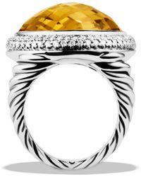 David Yurman Dy Signature Oval Ring with Lemon Citrine  Diamonds - Lyst