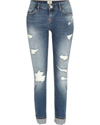 River Island Mid Wash Distressed Daisy Slim Jeans - Lyst