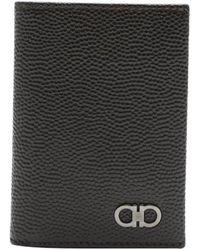 Ferragamo Chocolate Brown Leather Card Case - Lyst