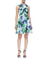 Shoshanna Randi Floral Criss Cross Front Dress - Lyst