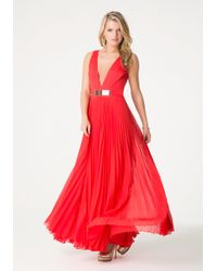Bebe Red Pleated Gown - Lyst