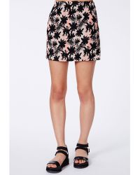 Missguided Soleida Palm Print Mini Skirt - Lyst