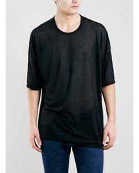 Topman Black Oversized Fit Sheer T-shirt - Lyst