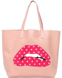 RED Valentino Large Mouth Appliqué Leather Tote Bag - Lyst