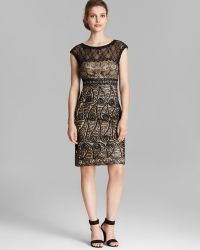 Sue Wong - Dress - Illusion Neck Cap Sleeve Soutache Sheath - Lyst