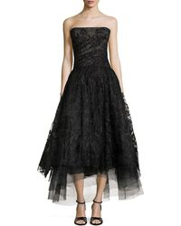 Monique Lhuillier Embellished Tulle Strapless Gown - Lyst